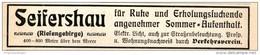 Original-Werbung/ Anzeige 1909 - SEIFERSHAU / RIESENGEBIRGE - Ca. 115 X 20 - Pubblicitari