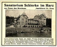 Original-Werbung/ Anzeige 1910 - SANATORIUM SCHIERKE IM HARZ - Ca. 90 X 75 Mm - Pubblicitari