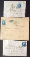 67 VARIÉTÉ F Cassé N°60 + Anneau Lune N°29 + OS Réunis N°14 GC174 + GC1307 + Étoile Paris 60 - Postmark Collection (Covers)