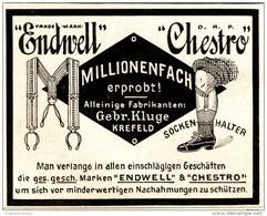 Original-Werbung/ Anzeige 1911 - CHESTRO / ENDWELL SOCKENHALTER / GEBR. KLUGE KREFELD - Ca. 80 X 65 - Pubblicitari