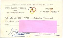Lidkaart Belgisch Volleybal Verbond - Getuigschrift - Brussel 1971 - Tickets D'entrée