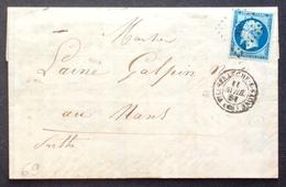 69 VARIÉTÉ Bleu Sur Vert N°14 Villefrannche Sur Saône PC3611 11/4/1861 Rhône Lettre «Au Père De Famille» - 1849-1876: Période Classique