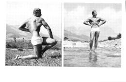 PHOTO HOMME EN MAILLOT DE BAIN CULTURISME CULTURISTE  FORMAT  21 X 14 CM - Sports