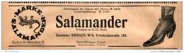 Original-Werbung/ Anzeige 1911 - SALAMANDER SCHUHE / BERLIN - Ca. 190 X 50 Mm - Pubblicitari