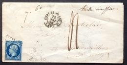 70 VARIÉTÉ Bleu Sur Vert N°14 Rhône Lettre TAXÉE Taxe Manuscrite «Timbre Insuffisant» Vitry Le François 26/5/1956 - Postmark Collection (Covers)