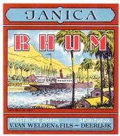 Etiket Etiquette - Rhum - Janica - Geestrijke Drank V. Van Welden & Fils - Deerlijk - Rhum
