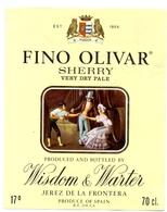 Etiket Etiquette - Sherry - Fino Olivar - Wisdom & Warter - Jerez De La Frontera - Etiquettes
