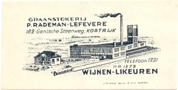Etiket Etiquette - Graanstokerij P. Rademan - Lefevere - Kortrijk - Wijnen Likeuren - Etiquettes
