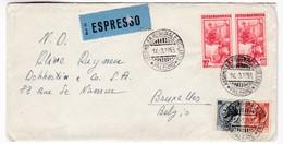 M497 Italy Espresso Lettera Express Letter 1955 ASSEMBLEA REGIONALE SICILIANA PALERMO To Bruxelles - 1946-.. République