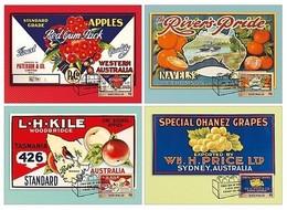 AUSTRALIA • 2016 • Nostalgic Fruit Labels • Set Of 4 Maximum Cards - 2010-... Elizabeth II