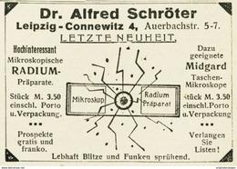 Original-Werbung/ Anzeige 1919 - DR.ALFRED SCHRÖTER'S MIKROSKOP / RADIUM-PRÄPARATE - LEIPZIG-CONNEWITZ- Ca. 65 X 45 Mm - Werbung