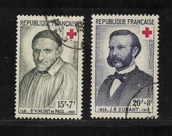 France Timbres De 1958 Croix Rouge N°1187 Et 1188 Oblitérés - Gebruikt