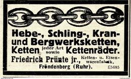 Original-Werbung/ Anzeige 1924 - KETTEN / FRIEDRICH PRÜNTE / FRÖNDENBERG (RUHR)  - Ca. 65 X 40 Mm - Werbung