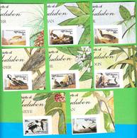 BHUTAN Imperforated Stamps IMPERF 1985 Audubon Birds Oiseaux Scott 506 - 513, 8 Values MNH Bhoutan #1 - Bhutan