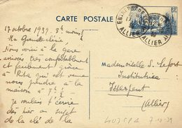 403 CP 1 Arc De Triomphe 70 C. Oblitéré Du 7-10-1939 Entrepot De Vichy - Postal Stamped Stationery