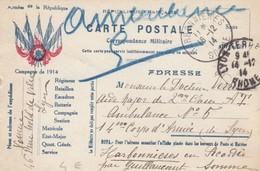 DECEMBRE 1914. CARTE EN FM. 5 DRAPEAUX. LYON POUR HARBONNIERES SOMME AMBULANCE N°5 14° CORPS D'ARMEE DE LYON - Marcophilie (Lettres)