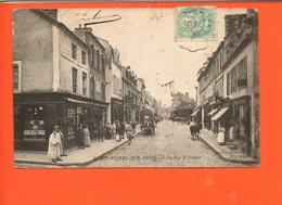 14 Saint Pierre Sur Dives : La Rue De Falaise (plis Coin Droit Et Gauche - France