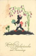 SILHOUETTE- Enfant Et Fleurs,carte Illustrée Par Ena Wahle. - Scherenschnitt - Silhouette