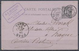 FRANCE - 1889 Carte Postale To Bohemie - Documents De La Poste