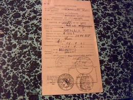 Automobille R4 Luxe Declaration De Circulation Provisoire Boulogne Billancourt Annèe 1951 - Cartes