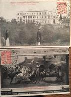 """2 CPA CORFOU, Villa Impériale """"Achilléion"""" (1915) Et Achilléion Triomphe D'Achille (1916) - Griekenland"""