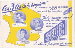 Buvard Chaîne SEDIS / Bicyclette / Tour De France 1955 / Louison Bobet, Brankart, Charly Gaul - Moto & Vélo