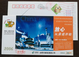Korea,Japan Mt.Fuji,Australia Sydney Opera House,USA Statue Of Liberty,CN 06 Hefei Post EMS Service Ad Pre-stamped Card - Post