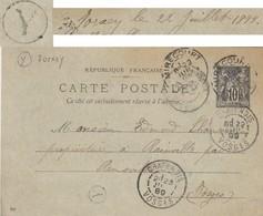 VOSGES CP ENTIER SAGE 1899 MIRECOURT + BOITE RURALE Y = JORXEY ( 226 HABITANTS EN 1896 ) - Storia Postale