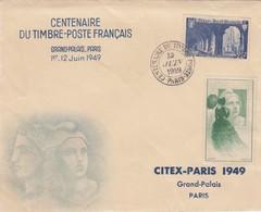 LETTRE. JUIN 49. CENTENAIRE DU TIMBRE FRANCAIS AVEC VIGNETTE CITEX - 1921-1960: Moderne