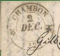 Creuse - 1844 - Chambon Pour Chenerailles - Année Uniquement Sur Cachet De Gueret Au Verso - Taxe Manuelle - Marcophilie (Lettres)