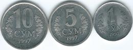 Uzbekistan - 1997 - 1, 5 & 10 So'm (KMs 8-10) - Uzbekistan