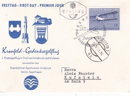 Austria 1961 LUPOSTA Kufstein Exhibition Postcard FDI Kronfeld-Gedenksegelflug - FDC