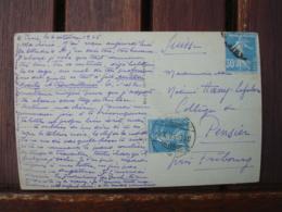 Obliteration Ambulant  Cachet Suisse Sur Timlbre Francais Lettre Pour Fribourg  Poste Ferroviaire - 1921-1960: Période Moderne