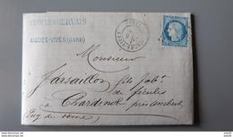Lettre Cachet AIGUES VIVES De 1872 .................... MK-2279 - 1849-1876: Période Classique