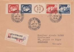 1949 LETTRE. RECOMMANDE AVEC BANDE CENTENAIRE PARIS - Poststempel (Briefe)