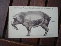 Cochon Cochons Tenant Poisson Marseille - Schweine