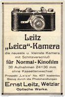 Original-Werbung/ Anzeige 1928 - LEICA KAMERA / LEITZ - WETZLAR - Ca. 65 X 100 Mm - Pubblicitari