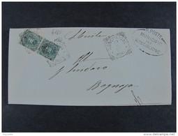 """4165 ITALIA Regno-1891-96- """"Stemma"""" C. 5 Coppia RONCIGLIONE>BAGNAIA (descrizione) - 1878-00 Umberto I"""