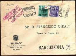 Girostamps54.- SOBRE COMERCIAL CIRCULADO POR CORREO CERTIFICADO DE BILBAO A BARCELONA EN 1951 - 1951-60 Cartas