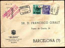 Girostamps54.- SOBRE COMERCIAL CIRCULADO POR CORREO CERTIFICADO DE BILBAO A BARCELONA EN 1951 - 1931-Hoy: 2ª República - ... Juan Carlos I