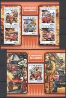 UU897 2017 GUINEA-BISSAU TRANSPORT CARS FIRE TRUCKS CARROS BOMBEIROS KB+BL MNH - Camions