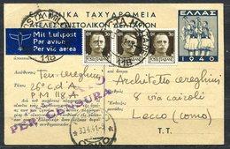 Z1438 ITALIA OCCUPAZIONI 1941 Conflitto Italo-greco Cartolina Postale Greca Affrancata Con Imperiale 30 C. Striscia Di 3 - Greek Occ.: Albania