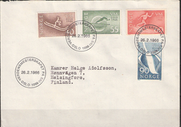 Norway 1966 World Championship Nordic Skiing Mi 537-540 Cover With Special Cancellation  26.2.66 - Noorwegen