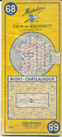 Carte Michelin N°68 Niort Châteauroux 1965 - Carte Stradali