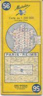 Carte Michelin N°56 Paris Reims 1969 - Cartes Routières