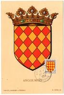 HERALDIQUE = 16 ANGOULEME 1954 = CARTE MAXIMUM  Illustrée D' ARMOIRIES + N° Yvt 1003 ANGOUMOIS - Maximum Cards