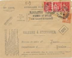 """PAIX 283 + Semeuse 235 Obl """" ST ETIENNE RP BIS MANUFRANCE """" Pour TUNIS Sur VALEURS A RECOUVRER ( Avec Verso) - Marcophilie (Lettres)"""