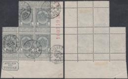 """Belgique - COB 53 Bloc De 5 Coin De Feuille """" Atelier Du Timbre + Nº Série""""  (DD) DC2967 - 1893-1800 Fijne Baard"""