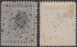 """Belgique - COB 17 Obl. Ambulant """"M5"""" Bruxelles Namur  (DD) DC2975 - 1865-1866 Profilo Sinistro"""