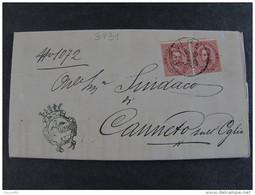 """3931 ITALIA Regno-1879- """"Effigie"""" C. 10 Coppia + Marca REVERE>CANNETO SULL'OGLIO (descrizione) - 1878-00 Umberto I"""